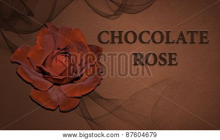 Chocolate roses on the background.