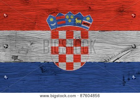 Croatia National Flag Painted Old Oak Wood Fastened
