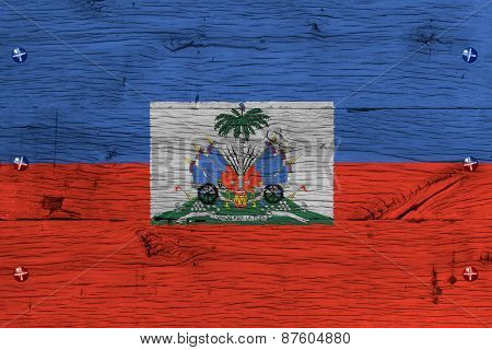 Haiti National Flag Coat Arms Painted Old Oak Wood Fastened