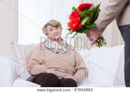 Elder Woman Having Birthday
