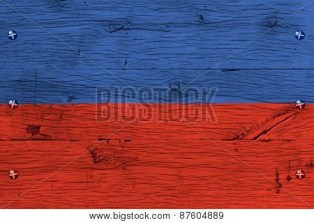 Haiti National Flag Painted Old Oak Wood Fastened
