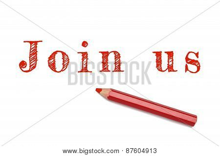 Join Us Sketch Text Red Pencil