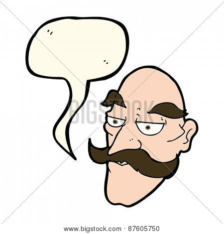 cartoon old man face with speech bubble