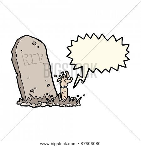 cartoon zombie rising from grave with speech bubble