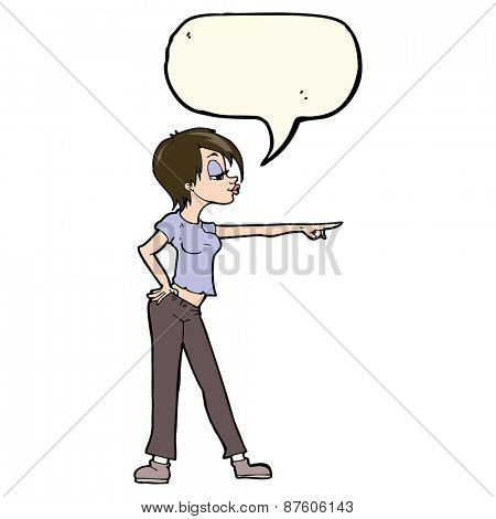 cartoon hip woman pointing with speech bubble