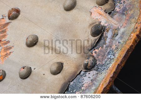 Rusty Steel And Rivets Detail