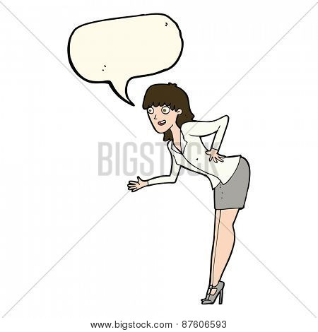 cartoon businesswoman explaining with speech bubble