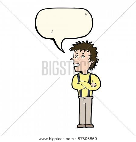 cartoon boy with folded arms with speech bubble
