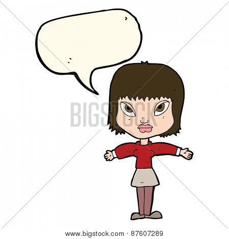 cartoon woman with outstretched arms with speech bubble