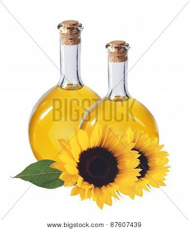 Oil In Bottles And Sunflowers, Isolated On White