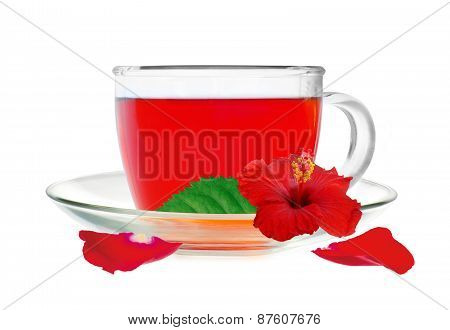 Glass Cup Hibiscus Tea With Hibiscus Flower And Petals Isolated On White