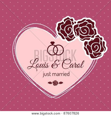 Vintage Just Married Wedding Card