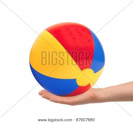 Bright Inflatable Ball In Hand Isolated On White