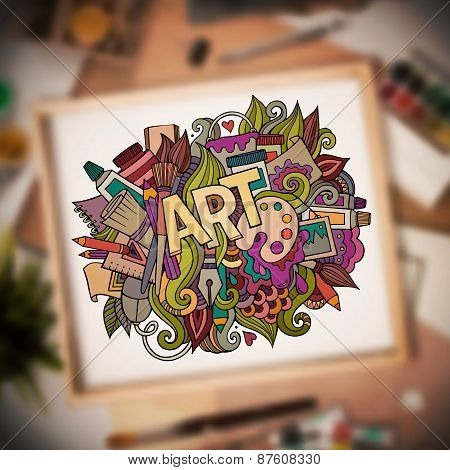 Art hand lettering and doodles elements. Vector blurried illustr