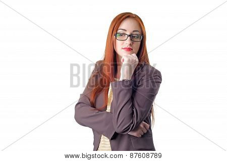 Thinking Redhead Business Woman With Glasses