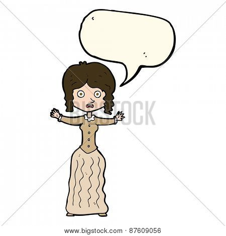 cartoon worried victorian woman with speech bubble
