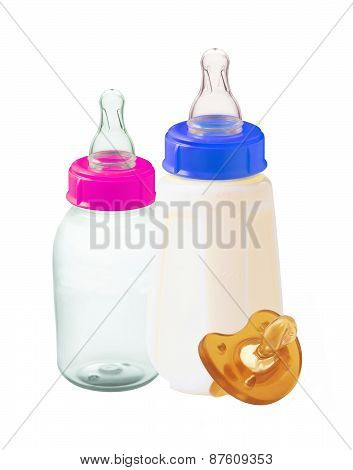 Baby Milk Bottles And Dummy Isolated On White