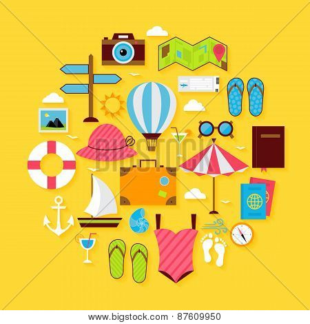 Flat Travel Summer Icon Circle Shaped Set