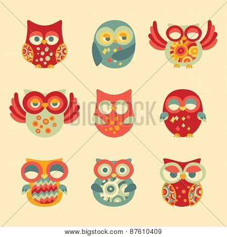 Vintage Decor Owl Set