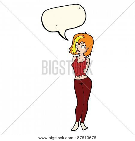 cartoon attractive girl with speech bubble