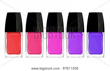 Multicolor Nail Polishes Isolated On White Background