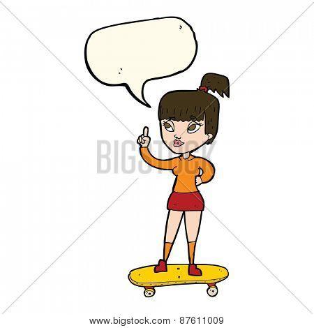 cartoon skater girl with speech bubble