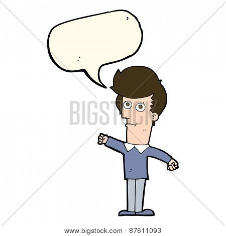 cartoon man punching with speech bubble