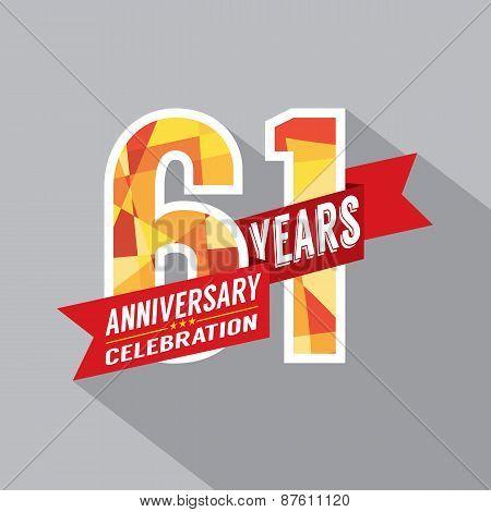 61St Years Anniversary Celebration Design.