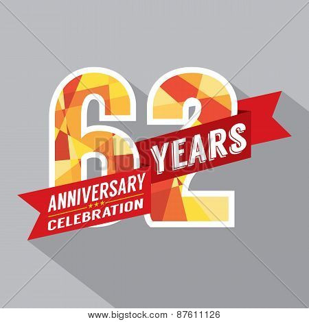 62Nd Years Anniversary Celebration Design.