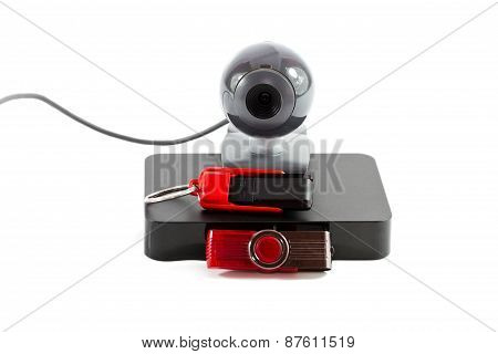 Webcam with External hard Drive Disk and Saving Stick