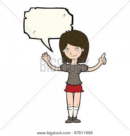 cartoon woman explaining idea with speech bubble