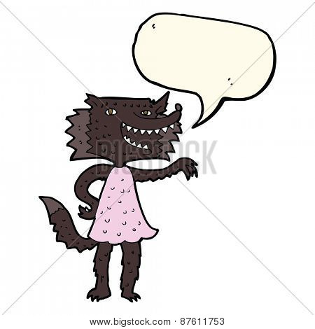 cartoon wolf girl with speech bubble
