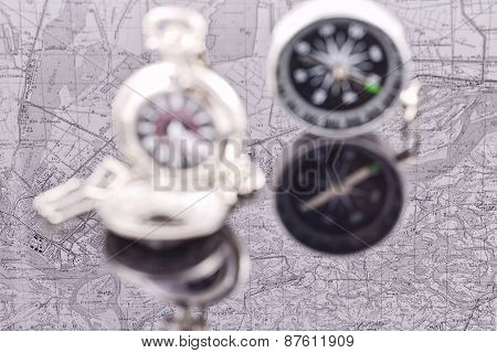 Compass And A Silver Pocket Watch On The Background Reflection Maps