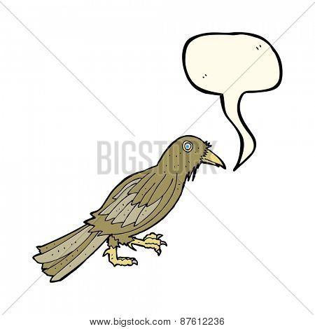 cartoon crow with speech bubble