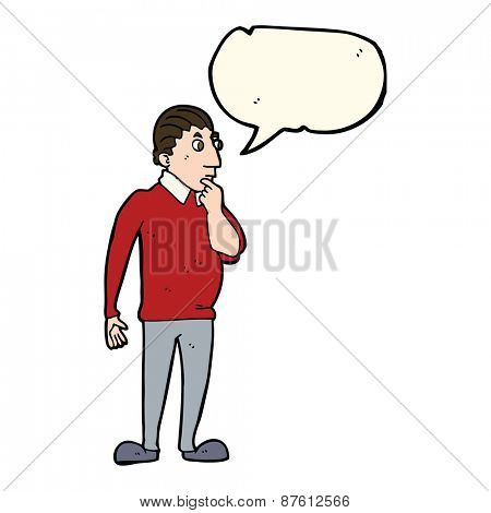 cartoon curious man with speech bubble