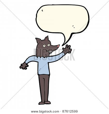 cartoon waving wolf man with speech bubble