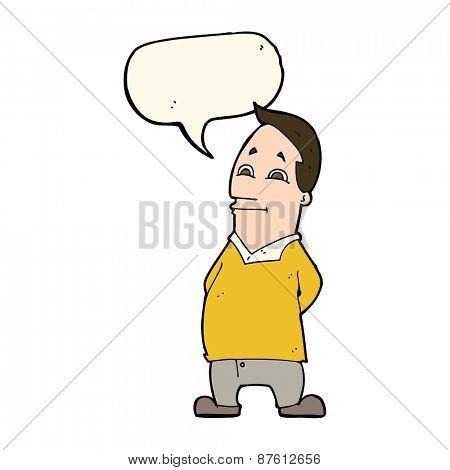 cartoon friendly man with speech bubble