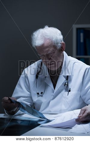 Physician Analyzing Clinical Case