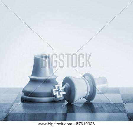 Broken king chess piece