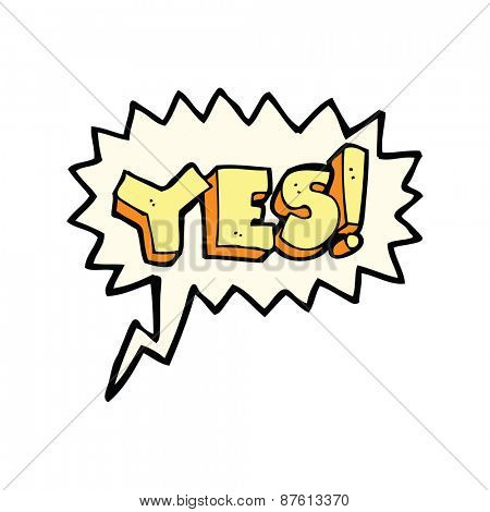 cartoon yes symbol with speech bubble