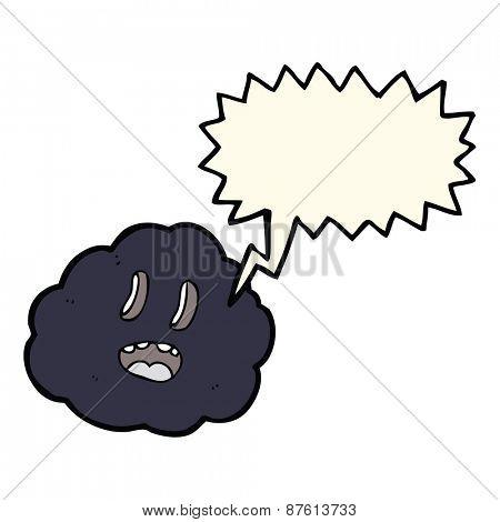 cartoon spooky cloud with speech bubble