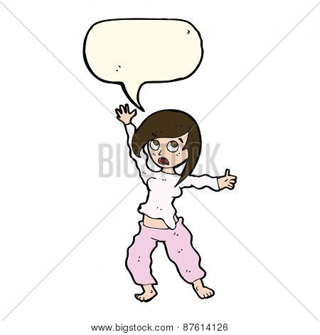 cartoon frightened woman with speech bubble