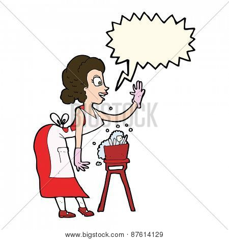 cartoon housewife washing up with speech bubble