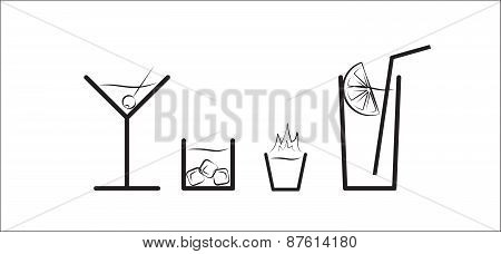 Black And White Vector Silhouette Set Of Different Alcohol Drinks In Glasses