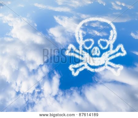 Blue Sky With A Skull And Crossbones In The Clouds