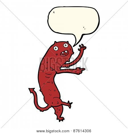 cartoon gross little monster with speech bubble