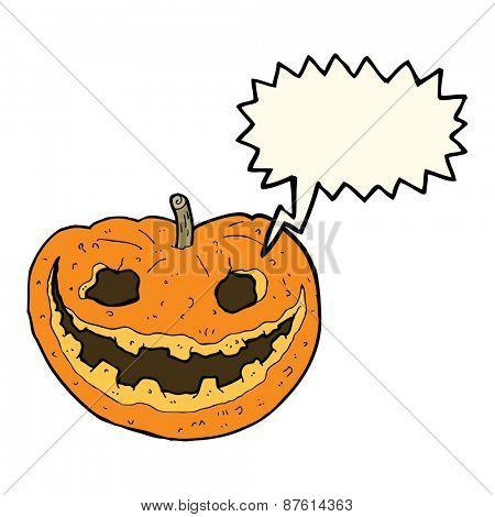 cartoon spooky pumpkin with speech bubble