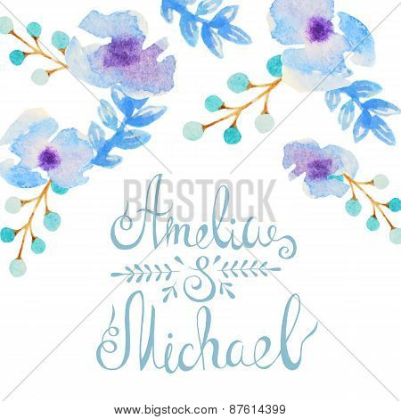 Invitation card with watercolor flowers for your wedding day
