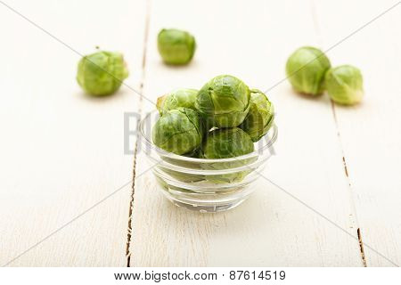 Brussels Sprouts In A Glass Bowl