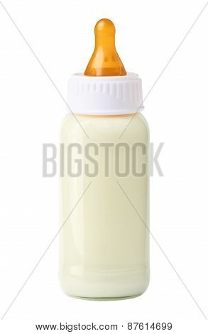 Baby Milk Bottle Isolated On White